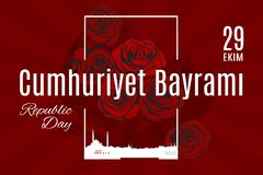 Traduzione di Cumhuriyet Bayrami 29 Ekim di festa della Turchia dal turco Immagine Stock