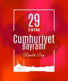 Traduzione di Cumhuriyet Bayrami 29 Ekim di festa della Turchia dal turco: Il giorno della Repubblica del 29 ottobre Immagine Stock Libera da Diritti