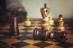 Tradycja szachy drewniane postacie Fotografia Royalty Free
