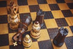Tradycja szachy drewniane postacie Zdjęcie Stock