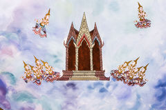 Tradycja Tajlandzki obraz na Wata hongtong ścianie przy Samutprakan prowincją Tajlandia. Świątynny otwiera społeczeństwo zegarek.  zdjęcia royalty free
