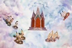 Tradycja Tajlandzki obraz na Wata hongtong ścianie przy Samutprakan prowincją Tajlandia. Świątynny otwiera społeczeństwo zegarek.  fotografia royalty free