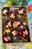 Tradycjonalnie naturalni coloured brązu Easter jajka Zdjęcia Royalty Free