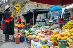 Tradycjonalnie ubierająca Ekwadorska kobieta sprawdza tropikalne owoc w rynku Obraz Stock