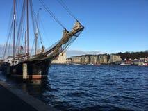 Tradycyjna żeglowanie łódź w Flensburg schronieniu w Niemcy Zdjęcia Stock