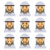 Tradycyjna arabska mężczyzna emocja stawia czoło wliczając ono uśmiecha się, smutny, mrugający, śmiający się, szczęśliwy twarz we ilustracji