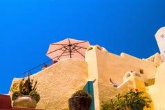 Tradycyjna architektura Oia wioska na Santorini wyspie Zdjęcia Royalty Free
