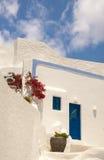 Tradycyjna architektura Oia wioska na Santorini wyspie Obrazy Stock