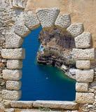 Tradycyjna architektura Oia wioska w Santorini wyspie Obraz Stock