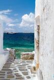 Tradycyjna architektura Oia wioska w Santorini wyspie Zdjęcia Stock