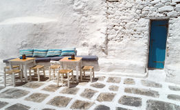 Tradycyjna architektura Oia wioska w Santorini wyspie Obrazy Royalty Free