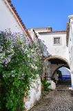 Tradycyjna architektura w Średniowiecznym Portugalskim miasteczku Obidos Obrazy Royalty Free