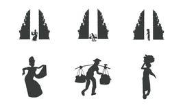 Tradycyjna balijczyk architektura, ludzie i royalty ilustracja
