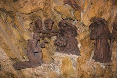 Tradycyjna bożego narodzenia narodzenia jezusa scena w Świątobliwym Francis monasterze Greccio, Lazio, Włochy obrazy royalty free
