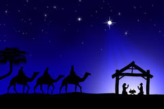 Tradycyjna Chrześcijańska Bożenarodzeniowa narodzenie jezusa scena z trzy wi Obraz Royalty Free