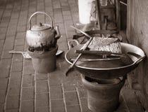 Tradycyjna czajnik niecka z rocznika stylem i fotografia brać w jogja Yogyakarta Indonesia Zdjęcia Royalty Free