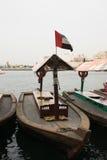 Tradycyjna drewniana łódkowata Dubaj zatoczka, UAE zdjęcia stock