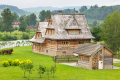 Tradycyjna drewniana wioska w Tatrzańskich górach Obraz Stock