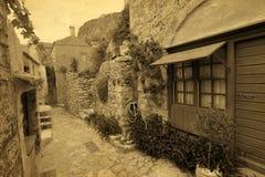 Tradycyjna grecka uliczna rocznik pocztówka Zdjęcie Stock