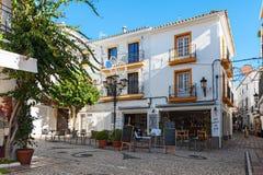 Tradycyjna Hiszpańska architektura stary miasteczko Marbella, Andalusia, Hiszpania Obrazy Stock