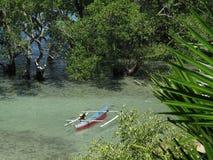 Tradycyjna Jukung łódź rybacka w mangrowe przy Bunaken wyspą, Sulawesi, Indonezja fotografia stock