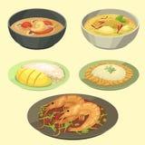 Tradycyjna Krajowa tajlandzka karmowa Thailand azjata talerza kuchni owoce morza krewetka gotuje wyśmienicie wektorową ilustrację royalty ilustracja