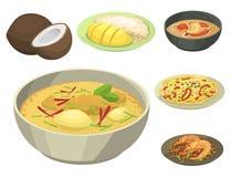 Tradycyjna Krajowa tajlandzka karmowa Thailand azjata talerza kuchni owoce morza krewetka gotuje wyśmienicie wektorową ilustrację ilustracja wektor