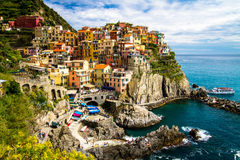 Tradycyjna Manarola wioska, Cinque Terre, Włochy, Europa Obraz Stock