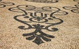 Tradycyjna marmurowa mozaika na ulicie w Lisbon Zdjęcia Royalty Free