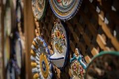 Tradycyjna ręka Malujący hiszpańszczyzny Ceramiczny obraz stock