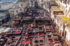 Tradycyjna rzemienna garbarnia w fezie, Maroko Zdjęcie Stock