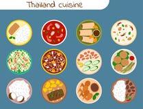 Tradycyjna tajlandzka karmowa azjata talerza kuchni Thailand owoce morza krewetka gotuje wyśmienicie wektorową ilustrację ilustracja wektor