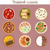 Tradycyjna tajlandzka karmowa azjata talerza kuchni Thailand owoce morza krewetka gotuje wyśmienicie wektorową ilustrację royalty ilustracja
