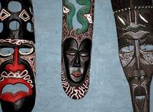 Tradycyjne afrykanin maski na ścianie w Zimbabwe Obrazy Royalty Free