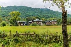 Tradycyjne Bhutanese architektury w wiosce blisko Bumthang, Bhutan Obrazy Stock