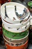 Tradycyjne deseniowe ceramiczne wazy zdjęcie royalty free