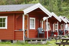 Tradycyjne norweskie czerwone drewniane kabin fasady Podróż Zdjęcie Royalty Free
