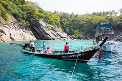 Tradycyjne łodzie na brzeg wyspa wyspy, Andama Obraz Stock