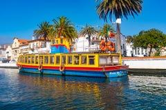 Tradycyjne łodzie na kanale w Aveiro, Portugalia Fotografia Royalty Free