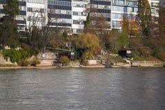 Tradycyjne połów budy na bankach rzeczny Rhine, Basel Obraz Stock