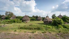 Tradycyjne słomiane budy w Omo dolinie Etiopia Zdjęcie Stock