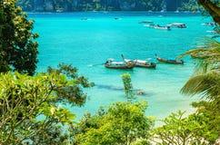 Tradycyjne tajlandzkie longtail łodzie w Tajlandia fotografia stock