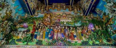 Tradycyjne Tajlandzkie styl rzeźby, obraz w kościół pod dekoracją Wata Pariwat świątynia i Fotografia Stock
