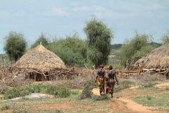 Tradycyjne wioski i słomiane budy w Omo dolinie Etiopia Obraz Stock