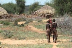 Tradycyjne wioski i słomiane budy w Omo dolinie Etiopia Obraz Royalty Free