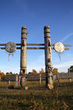 Tradycyjnego Buryat poganina święci słupy. Baikal Zdjęcia Royalty Free