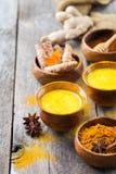 Tradycyjnego indyjskiego napoju turmeric kurkumowy złoty mleko z składnikami obraz royalty free