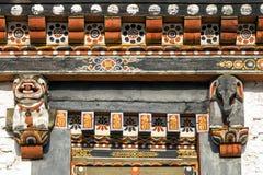 Tradycyjnego kulturalnego bhutanese drzwiowej ramy górna architektura Zdjęcia Stock