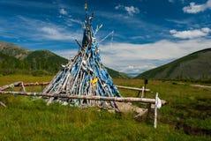 Tradycyjnego mongolian drewniany ovoo Obraz Royalty Free