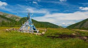 Tradycyjnego mongolian drewniany ovoo Fotografia Stock